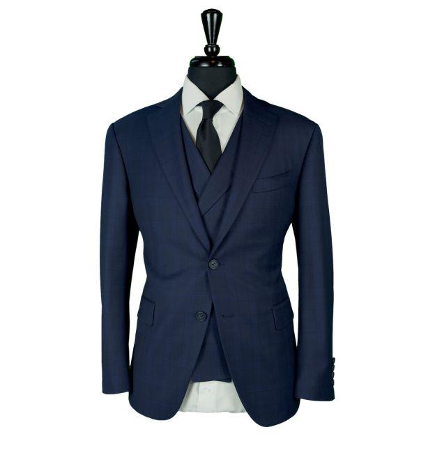 Blue Birdseye Check Wool Suit