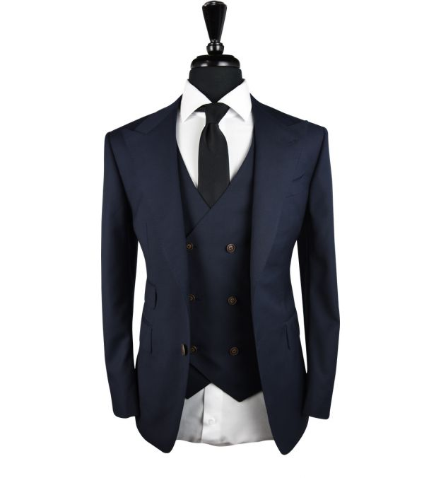 Dark Blue Birdeye Wool Suit