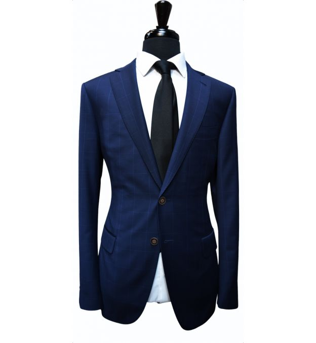 Persian Blue Windowpane Wool Suit
