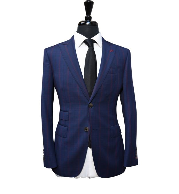 Midnight Blue Burgundy Check Wool Suit
