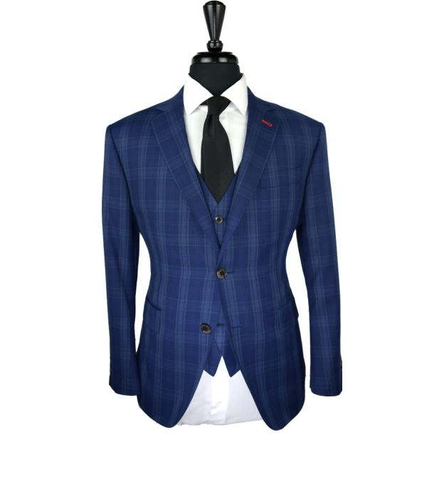 Royal Blue Check Wool Suit