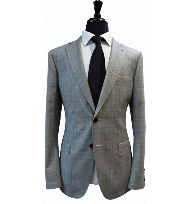 Light Grey Windowpane Wool Suit