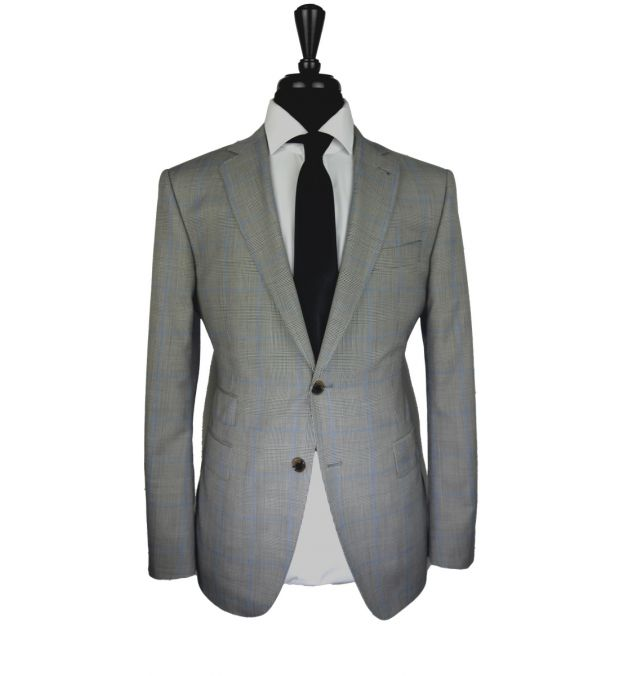 Prince of Wales Blue Windowpane Wool Suit