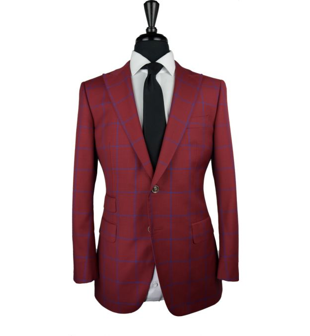 Red Windowpane Wool Suit
