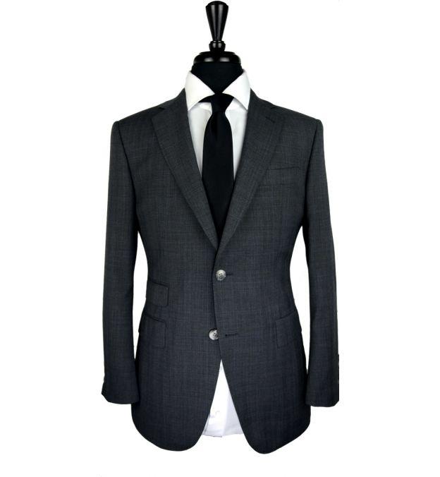 Dark Grey Prince of Wales Wool Suit