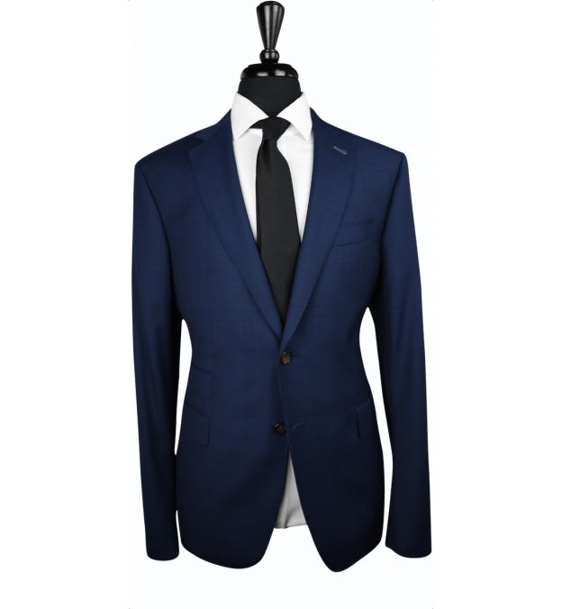 Navy Blue Plaid Wool Suit