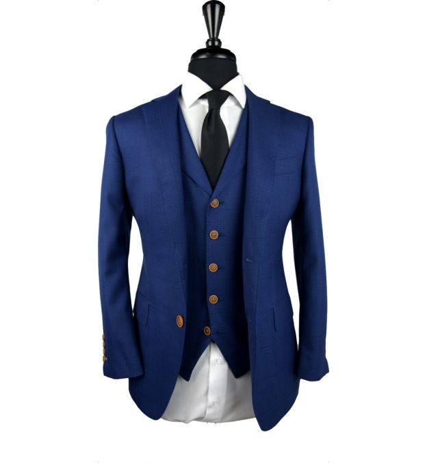 Textured Lapis Blue Check Wool Suit