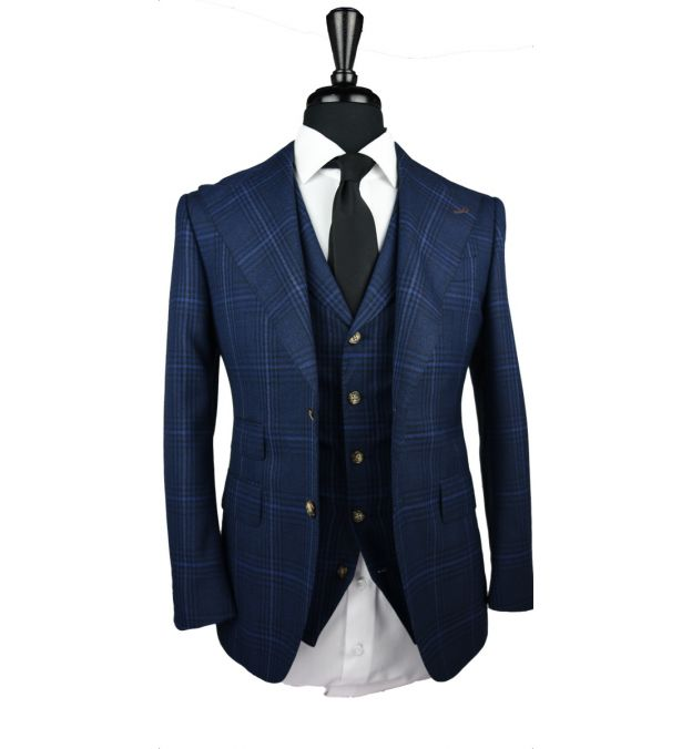 Textured Navy Blue Windowpane Wool Suit