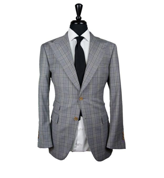 Gray Windowpane Wool Suit