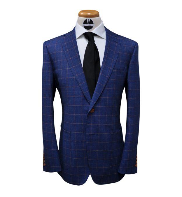 Sapphire Blue with Orange Windowpane Wool Suit