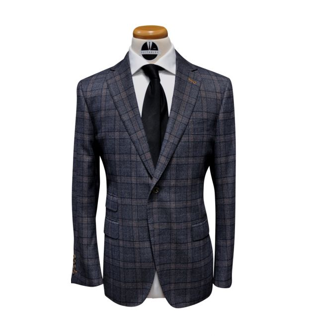 Grey Plaid with Orange Check Wool Suit