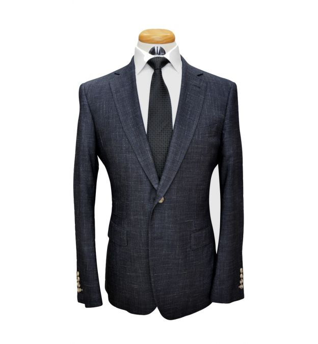 Textured Charcoal Wool Suit