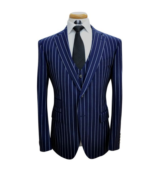 Navy Blue Large Pinstripe Wool Suit