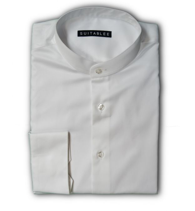 White Mandarin Collar Dress Shirt