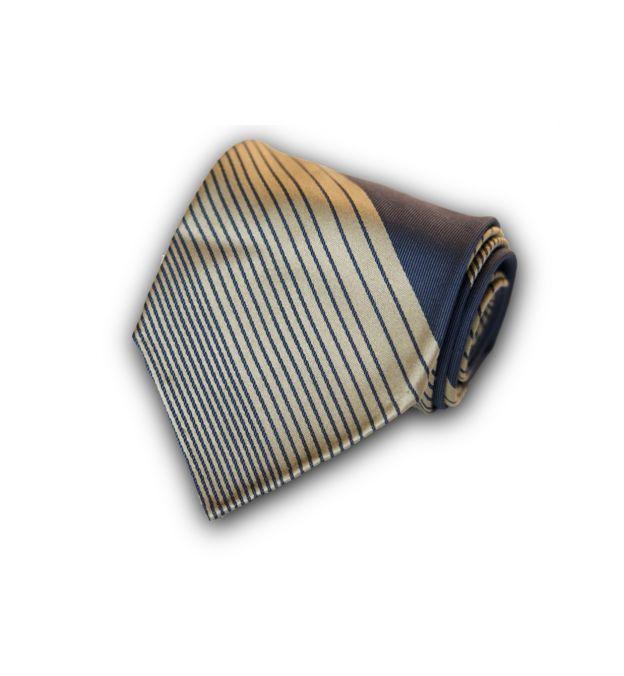 Striped Space Blue Silk Tie