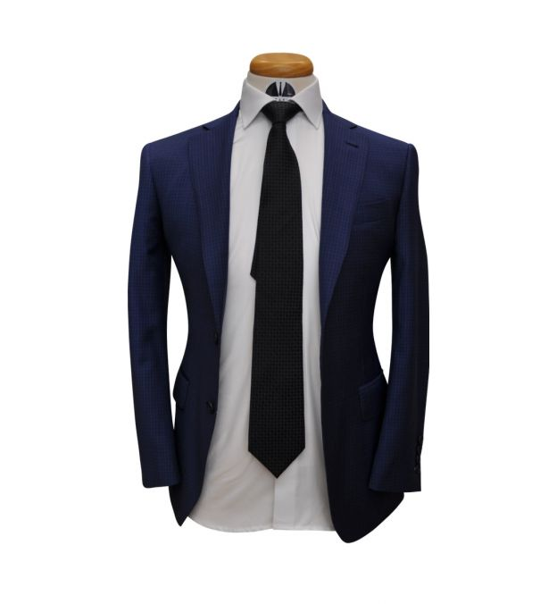 Blue Check Wool Suit