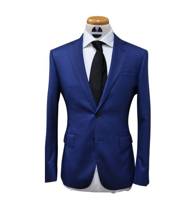 Blue with Subtle Windowpane Wool Suit