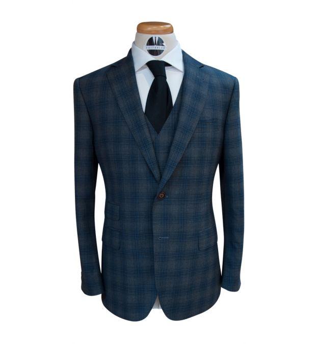 Dark Grey Blue Check Custom Wool Suit