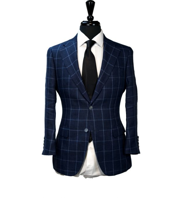 Navy Blue Windowpane Suit