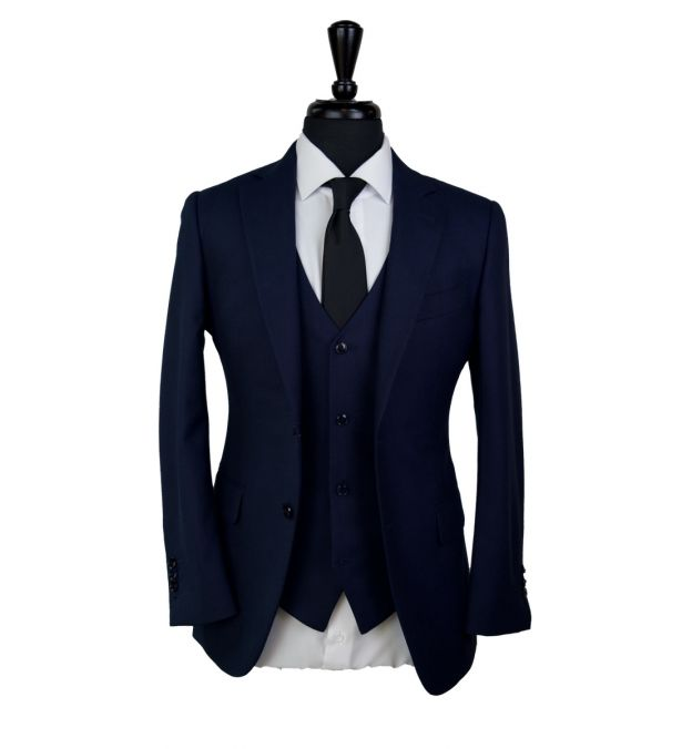 Dark Blue Chambray Wool Suit