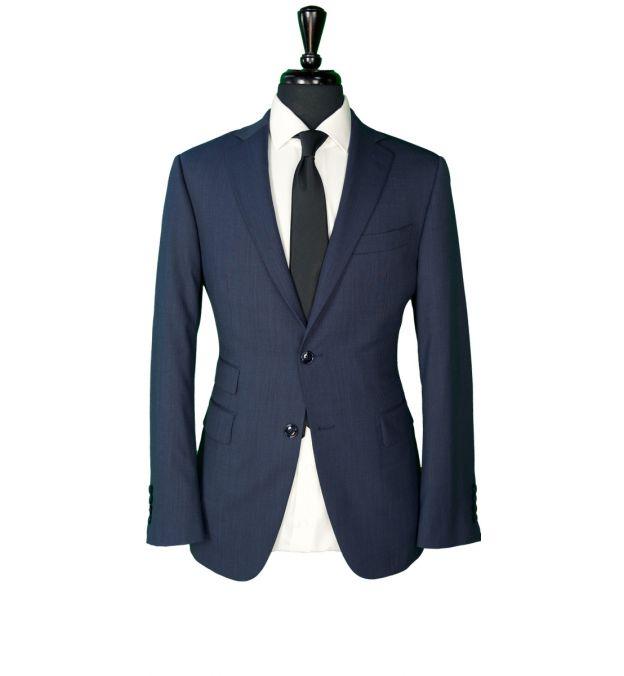 Blue Hopsack Wool Suit