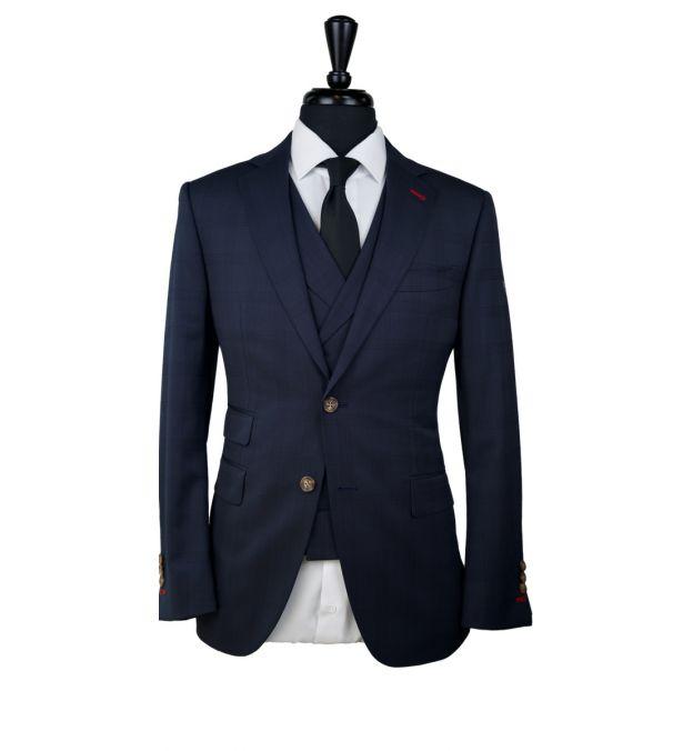 Dark Blue Subtle Check Wool Suit