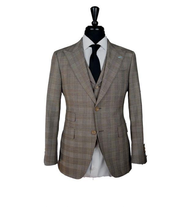 Khaki Prince of Wales Wool Suit