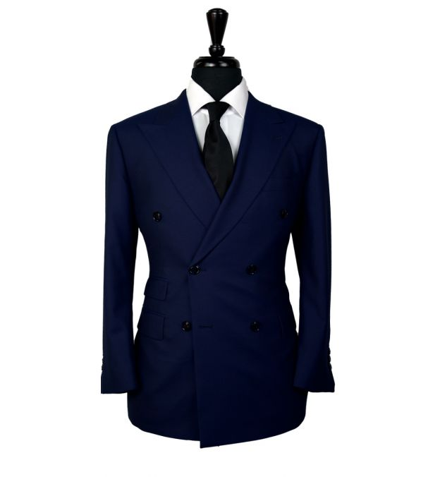 Navy Blue Dobby Wool Suit