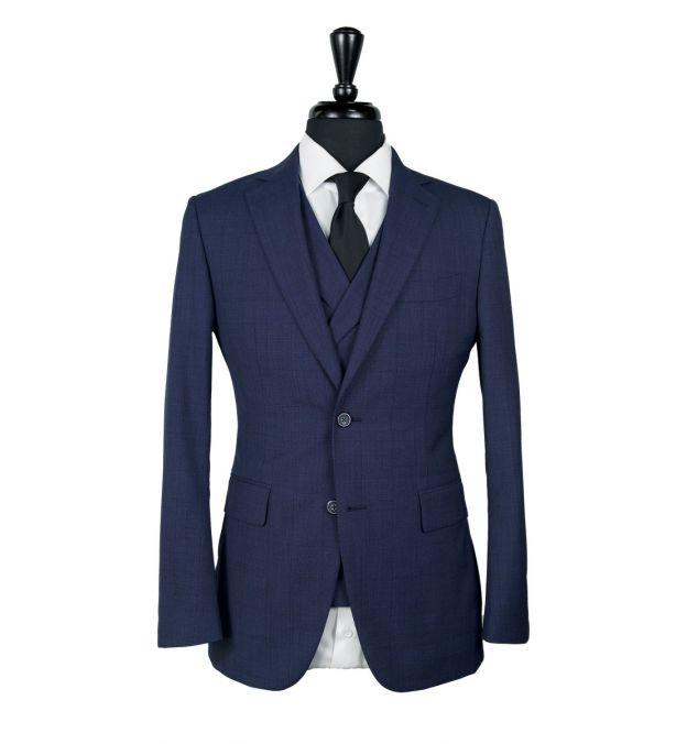 Indigo Blue Prince of Wales Wool Suit