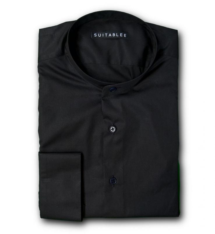 Black Mandarin Collar Dress Shirt
