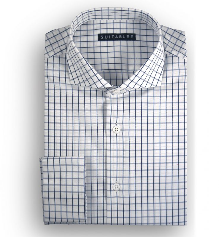 White with Blue Check Dobby Dress Shirt