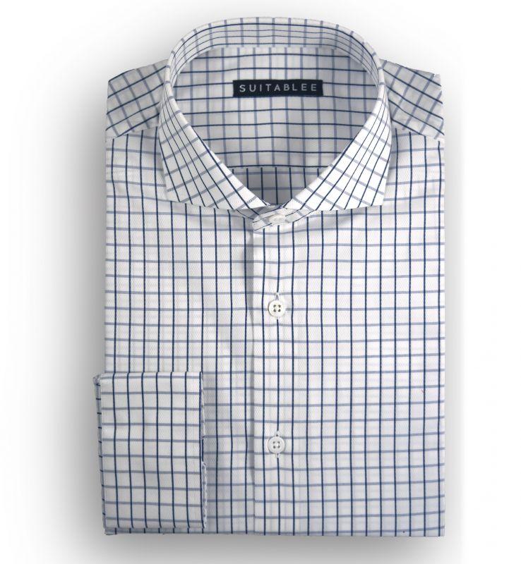 White with Blue Check Dobby Dress Shirt