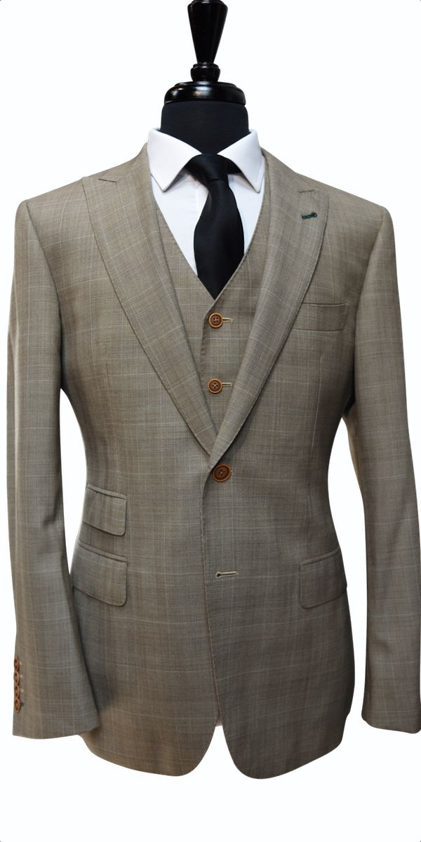 Light Brown Prince of Wales Wool Suit