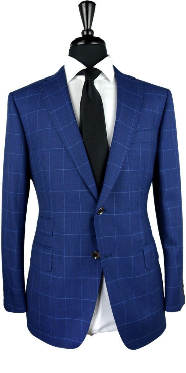 Blue Canvas Windowpane Wool Suit