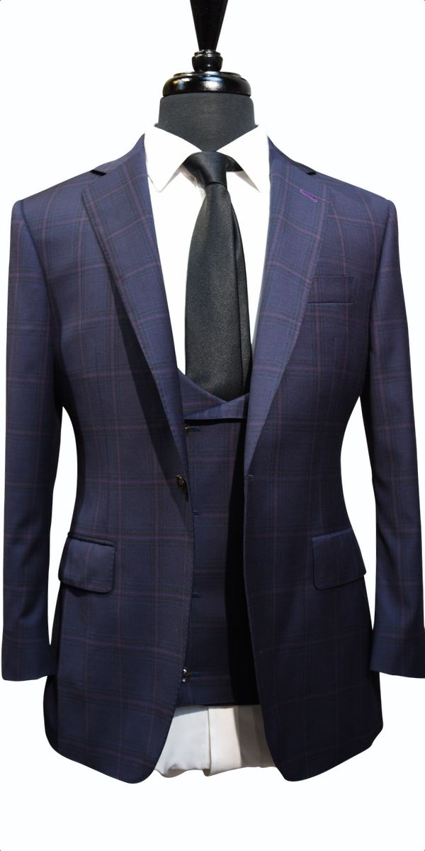 Raspberry Windowpane Wool Suit