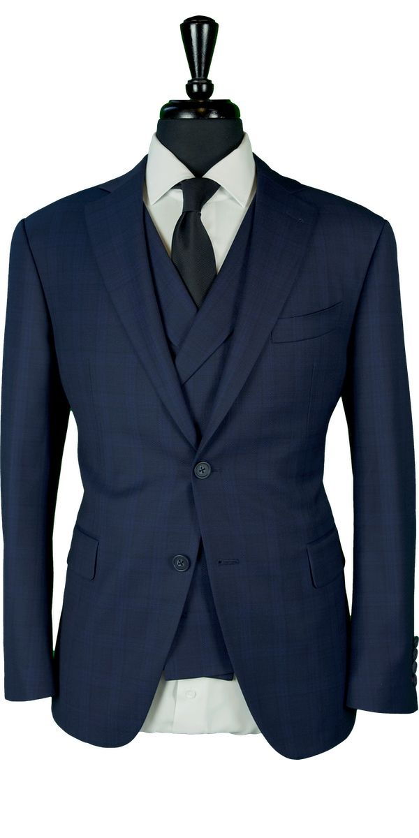 Blue Birdseye Check Wool Suit