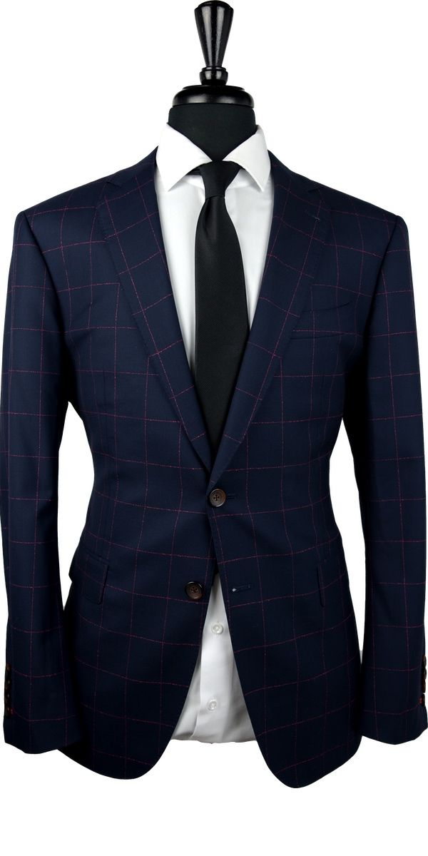 Midnight Blue Red Drip Windowpane Wool Suit