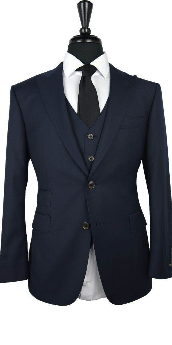 Dark Denim Blue Wool Suit