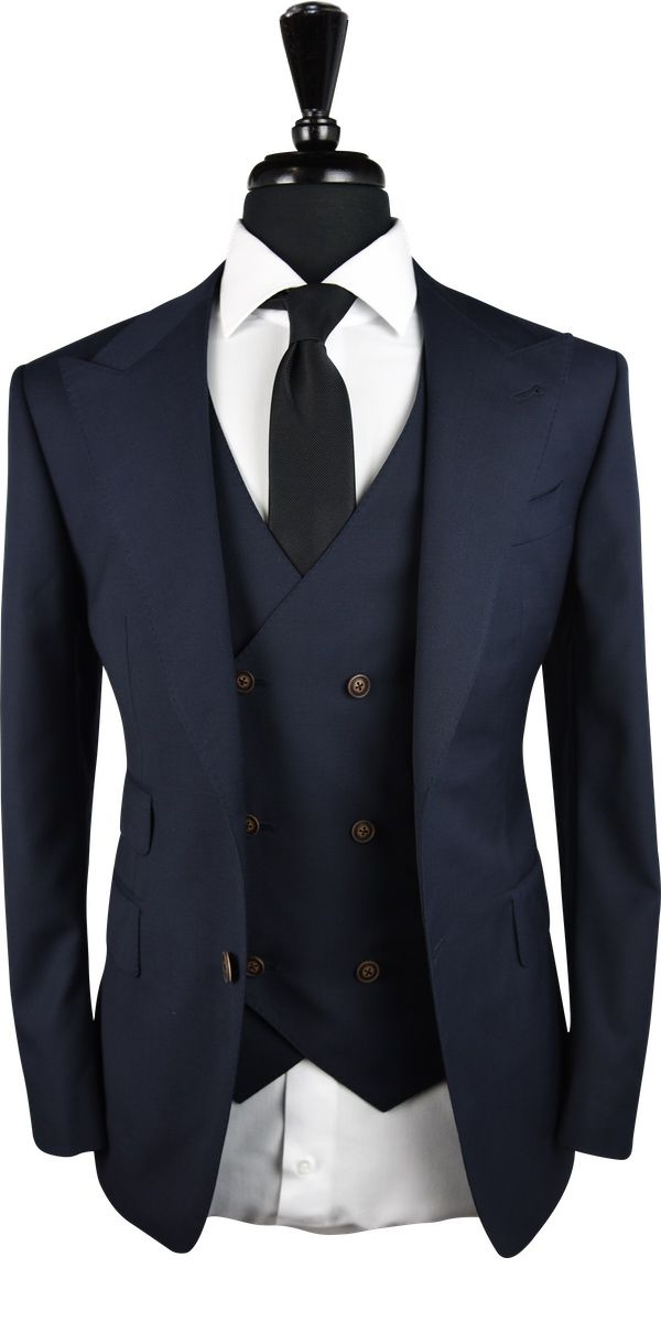 Dark Blue Birdeye Wool Suit