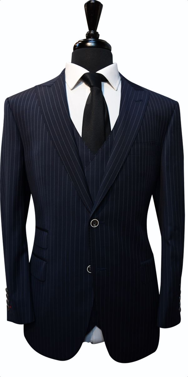 Midnight Blue Dotted Pinstripe Wool Suit