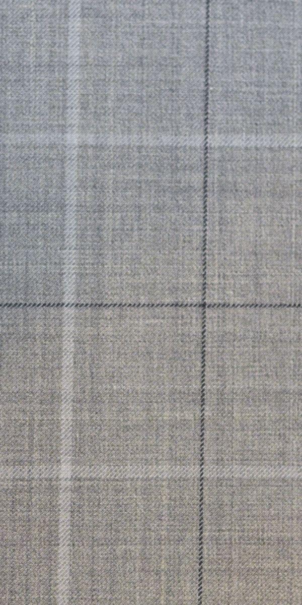 Light Grey Windowpane Wool Suit