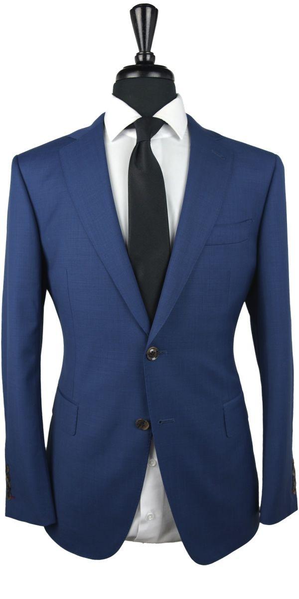 Blue Sharkskin Wool Suit