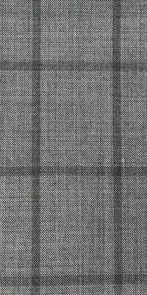 Grey Windowpane Sharkskin Wool Suit