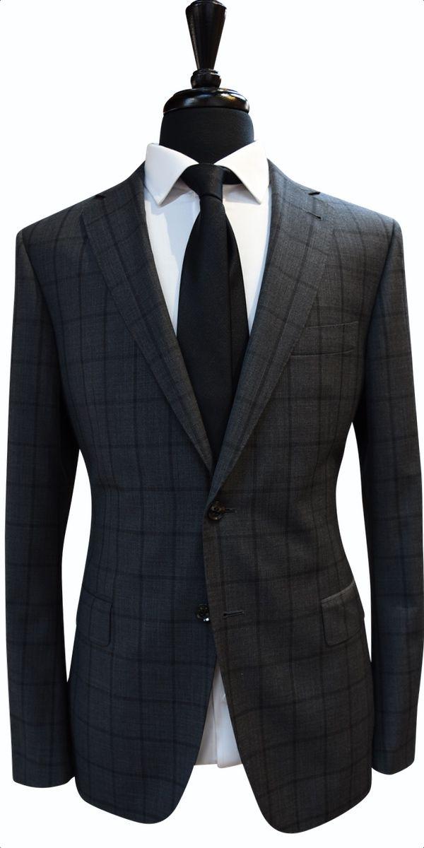 Charcoal Windowpane Wool Suit