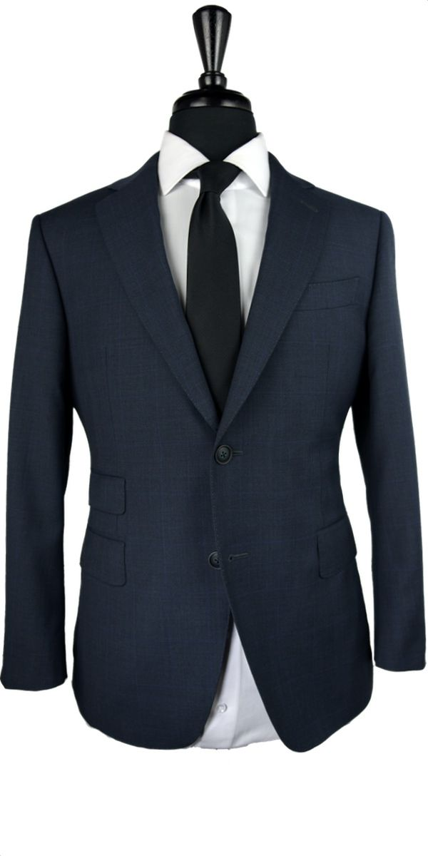 Navy Blue Prince of Wales Wool Suit