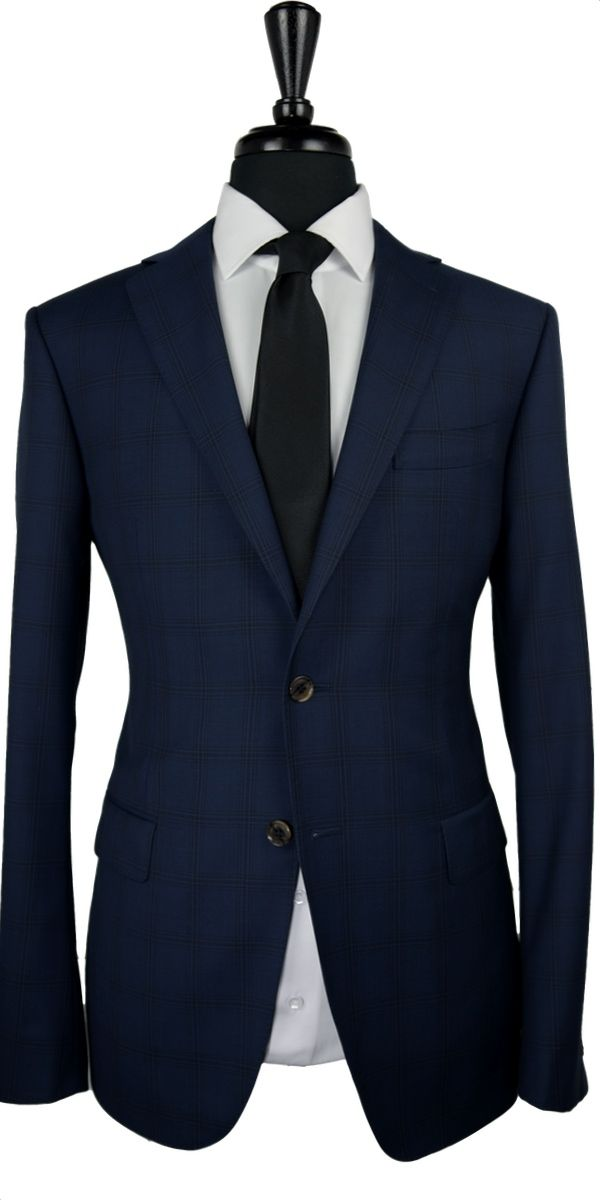 Sapphire Blue Windowpane Wool Suit