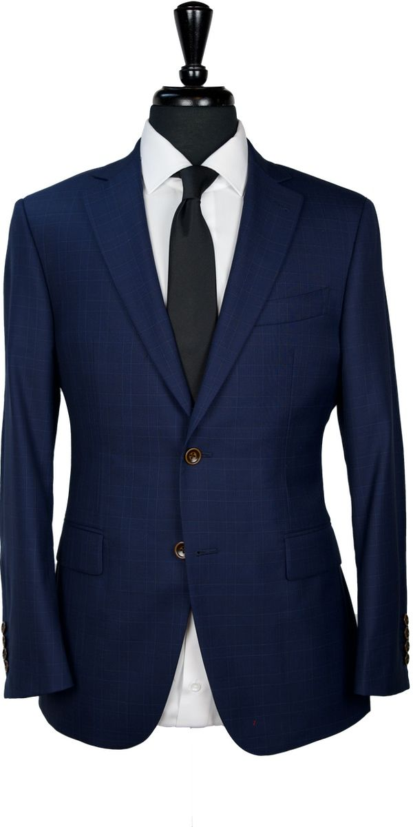 Blue Plaid Wool Suit