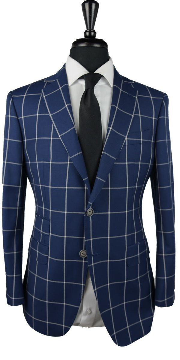 Blue Windowpane Wool Suit