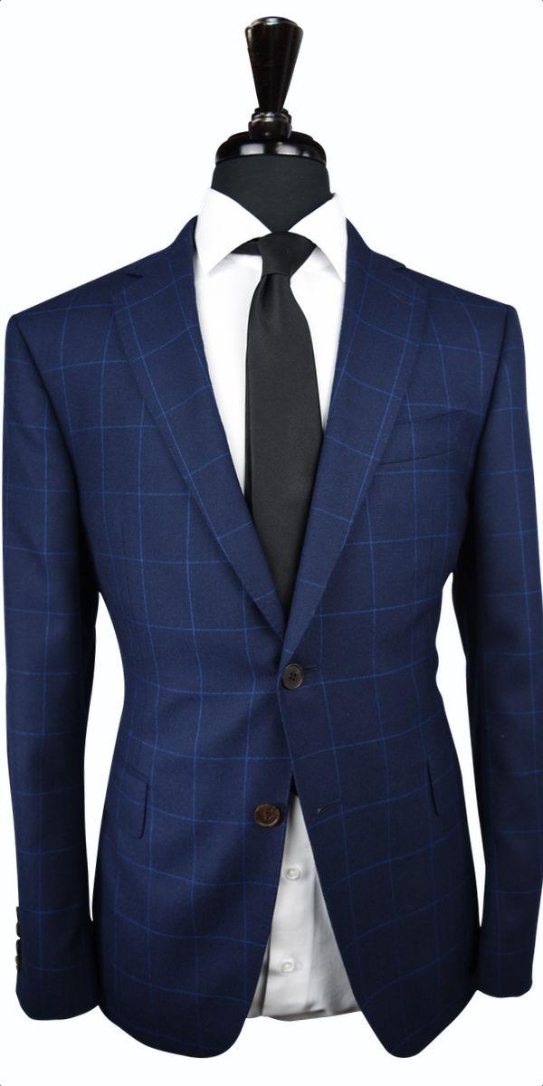 Blue Windowpane Canvas Wool Suit