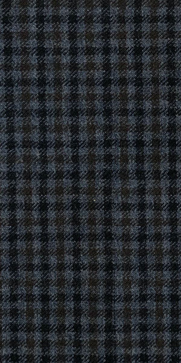 Navy Blue Brown Gingham Wool Suit